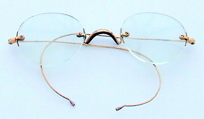 20th Cent. RIMLESS SPECTACLES WITH ROLLED GOLD FITTINGS