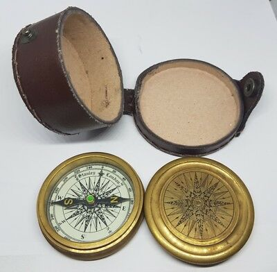 Antique. Brass, Stanley London Pocket Compass Leather-Case. Frost Poem.