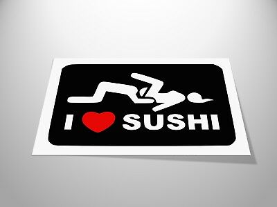 I Love Sushi Stickers x2 Skydiving Helmet Decal Laptop Car - HIGH QUALITY