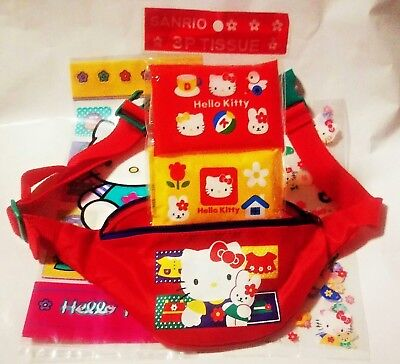 RARE Vintage Sanrio 1976 1997 Hello Kitty Fanny Pack Lot Tissues Gift Bags Japan