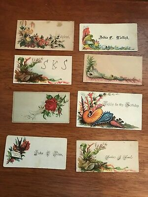 ANTIQUE VINTAGE EARLY VICTORIAN CALLING CARDS EMBOSSED LOT OF 8 Flowers Shells