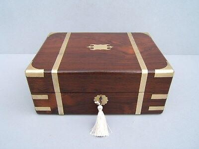 SUPERB  EARLY 19c ROSEWOOD  ANTIQUE DOCUMENT/JEWELLERY BOX - FAB INTERIOR