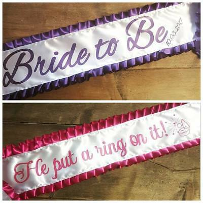 Luxury Frilly Adult Personalised Sash -Birthday, Hen Party, Pageant, Competition