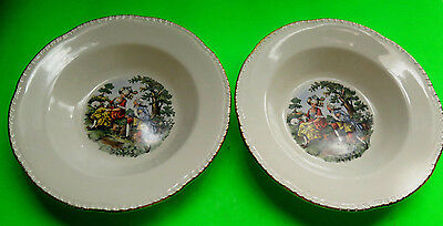 Vintage Victorian Courting Scene Homer Laughlin Pair Of Soup Plates 22K Gold Rim