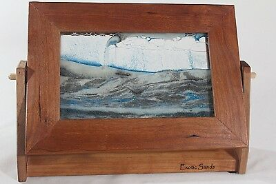 EXOTIC SANDS Arctic Glacier Moving Art Flip Frame ALDER WOOD Sm 7x9 Wm Tabor USA