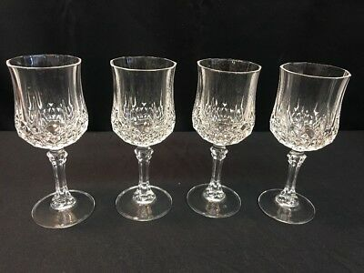 "Set Of 4 Cristal D'Arques Crystal LONGCHAMP WINE Glass- 6 1/2"" (lh924)"