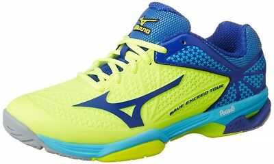 NEW Mizuno Tennis Shoes WAVE EXCEED TOUR 2 OC 61GB1672 Yellow blue X light blue