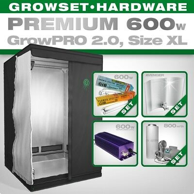 Growbox GrowPRO XL 120x120x200cm, Grow Set 600W Premium Growbox Komplettset