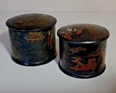 2 Antique Oriental Papier Mache Round Lidded Trinket Pots - Powder Box
