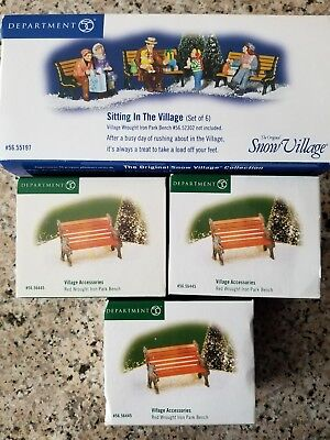 Dept 56 SITTING IN THE Snow VILLAGE Accessory Set SV 55197 with Benches Lot of 4