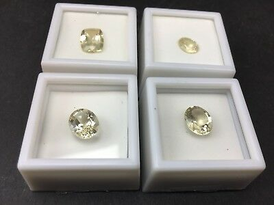 Yellow Labradorite Faceted Oval Gemstones Lot of 4 in Boxes 15.86 Carats