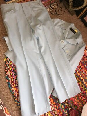 Vintage Leisure Suit Mens Polyester Baby Blue 70s Amazing Condition 42