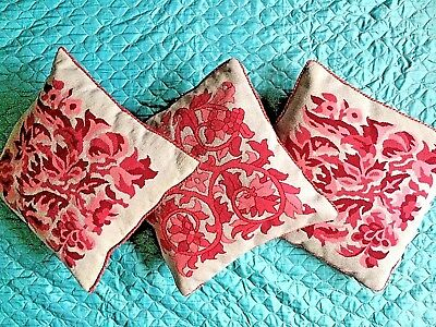 Vintage Wool Needlepoint Embroidered Large Cushion Cover Set X 3