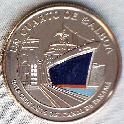 **NEW*PANAMA_2016_25 Cents_100 Years of Panama Canal_lose_unc color