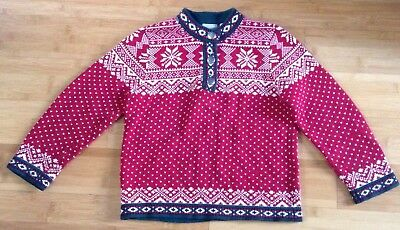 LL Bean Vtg 80s Sweater Girls Sz M 5/6 Nordic Norwegian Red Christmas100% Cotton