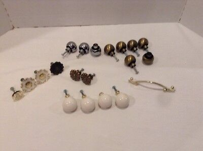 Assorted Lot Vtg/Mid Century Drawer Pulls/Knobs Chrome-French Provincial-Ceramic