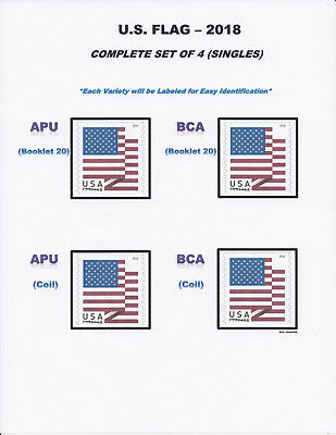 *NEW* 2018 US FLAG SET #5260-63 (Complete Set of 4 Singles) 2018 Mint NH