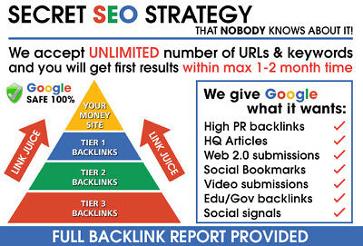 BRUTAL SEO LINK PYRAMID - Huge link diversity - GUARANTEED rank improvement !!!