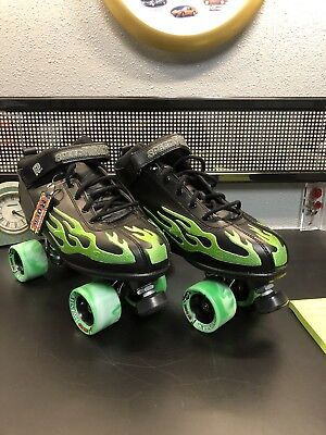 ROCK SKATES 'Speed Freaks' Black with green Flames Sure Grip speed Skate size 11