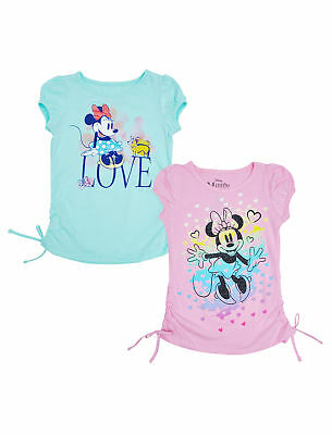 Disney Girls Minnie Mouse Love Short Sleeve Graphic T-Shirts 2-PK