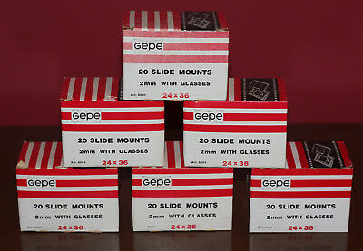 20-COUNT BOX GEPE GLASS 35MM FILM SLIDE MOUNTS 24x36 *NEW IN BOX*