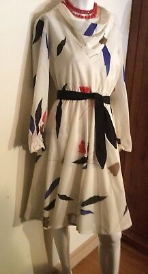 Vintage 60-70's CREAM ABSTRACT VIVID FLORALS  DRESS w SASH~ PAUL OF CALIFORNIA