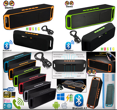 USB Wireless Bluetooth Portable Speaker Sound Stereo Subwoofer Support FM TF UK
