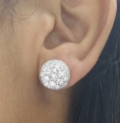 Deal! 3.20 Ct Genuine Round Diamond Cluster Halo Studs  Earring In 14K Gold 13Mm