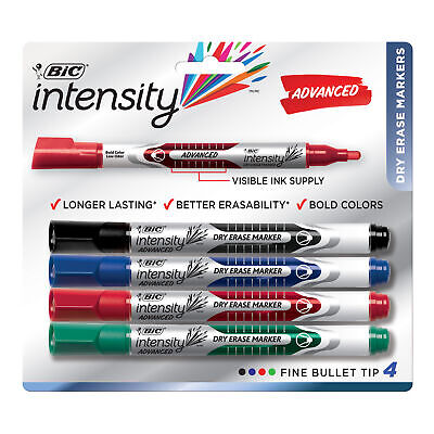 BIC Magic Marker Brand Dry Erase Marker, Bullet Point, Assorted Colors, 4-Pack