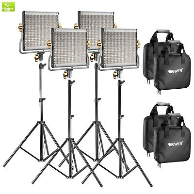 Neewer 4 Packs Dimmable Bi-color 480 LED Video Light and Stand Lighting Kit Incl