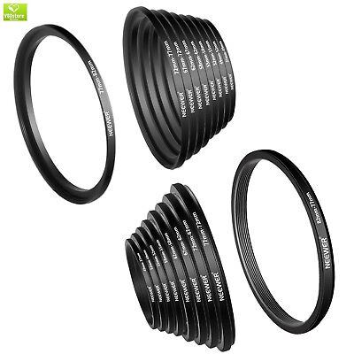 Neewer 18 Pieces Metal Camera Lens Filter Ring Adapter Kit - 9 Pieces Step Up Ri