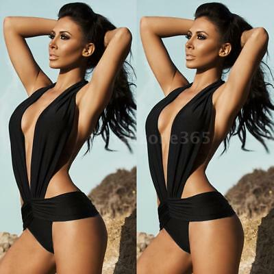 Sexy Women Halter One Piece Deep V Swimsuit Swimwear Push Up Bikini Beach A9R5