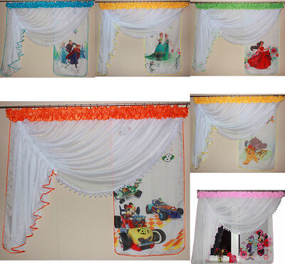 Amazing Childrens Voile Curtains For Kids Boys Girls With Lace Printed Disney