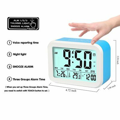 Alarm Clock With Big Display Time Temperature Date Talking Bell 12/24-hour Clock