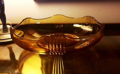 Large Art Deco Amber Depression Glass Fruit Bowl