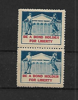U.s. Poster Stamp - Be A Bond Holder For Liberty- M.n.h. Pair