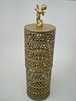 "Vintage Filigree Gold Brass Metal Cherub Hair Spray Cover 11"" Height"