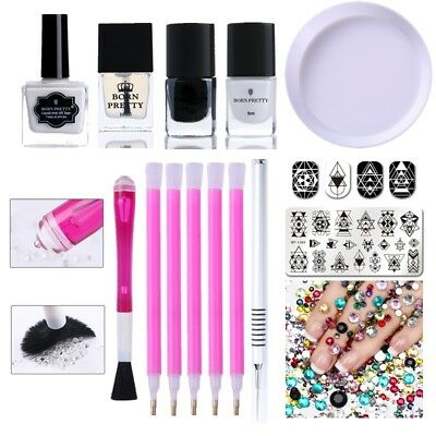 24Pcs/Set Stamping Polish Stamp Plate Peel Off Nail Latex Rhinestone Picker Pen
