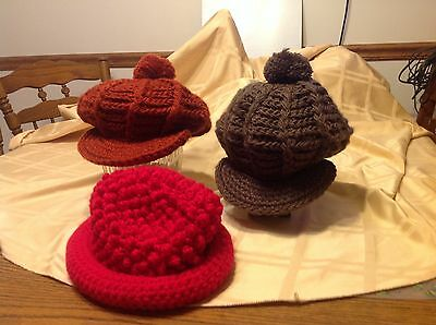 Lot of 3 crochet hats, rust, brown, red, 2 with cap rim, vintage