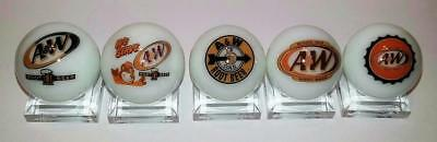 """Set of 5  A & W Rootbeer 1"""" Glass Marble With Stands # 2"""