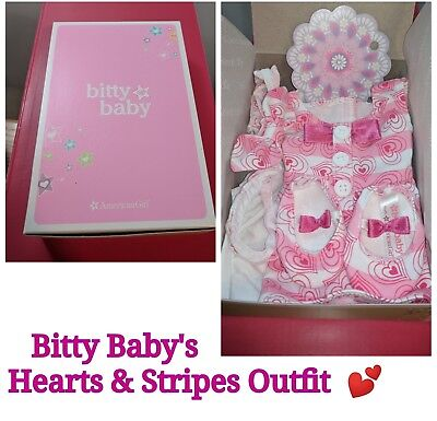 """American Girl BITTY BABY'S HEARTS & STRIPES VALENTINE'S OUTFIT 15"""" doll size NEW"""