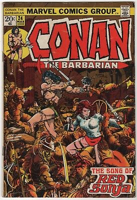 Conan the Barbarian #24 VG/VG+ 1973 Marvel Comics Barry Smith 1st Full Red Sonja