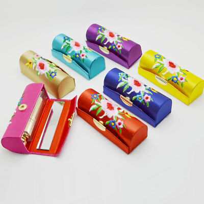 Women Lady Flower Brocade Retro Lipstick Case Holder Box with Mirror Fashion