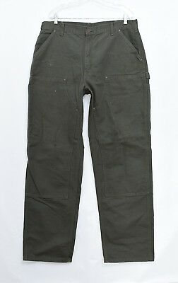 Carhartt B136 WASHED-DUCK DOUBLE-FRONT WORK DUNGAREE Pants Jeans Sz 38 X 34 J9
