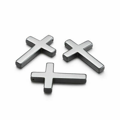 20pcs Non-Magnetic Hematite Cross Pendants Smooth Gemstone Charms Findings 35mm