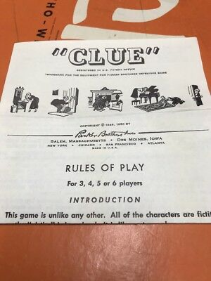 Vintage 1960 Parker Brothers Clue Game Pieces Cards Instructions