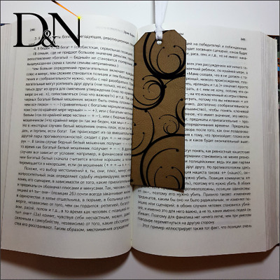 Laser Cut And Engraved Leatherette Bookmarks