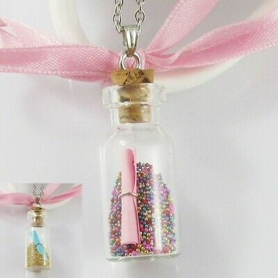 Message in a Bottle Charm Necklace 54cm Select Pink or Blue Message Scroll
