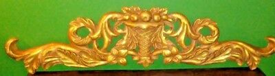 "33.5"" French Antique Gilded Gold Pediment Architectural Crown Plaster Crest"