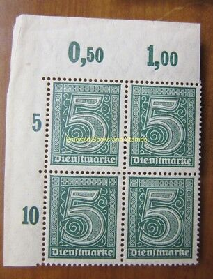 EBS Germany 1920 Official 5 Pfennig Michel Dienst 23 LH CORNER BLOCK MNH**